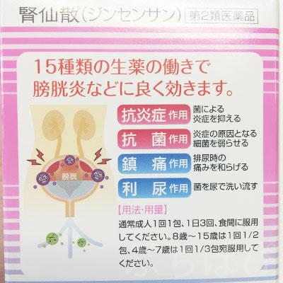 膀胱炎 市販薬 腎仙散 効能説明 画像